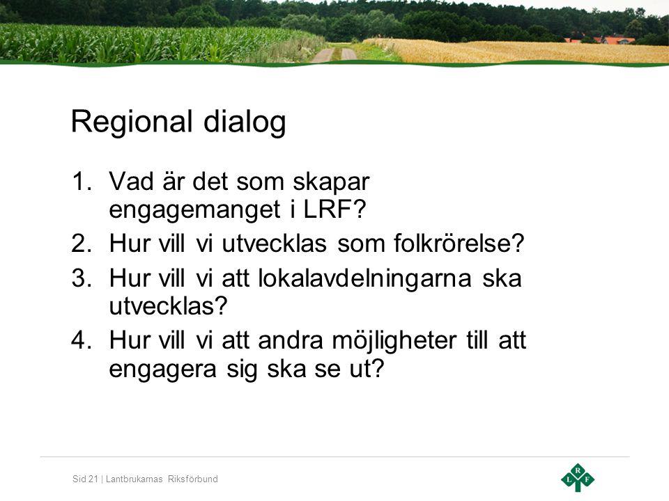Sid 21 | Lantbrukarnas Riksförbund Regional dialog 1.Vad är det som skapar engagemanget i LRF.