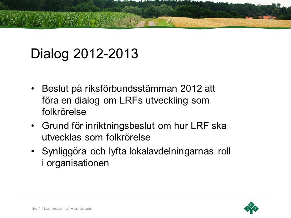 Sid 4 | Lantbrukarnas Riksförbund Dialog 2012-2013 Beslut på riksförbundsstämman 2012 att föra en dialog om LRFs utveckling som folkrörelse Grund för inriktningsbeslut om hur LRF ska utvecklas som folkrörelse Synliggöra och lyfta lokalavdelningarnas roll i organisationen