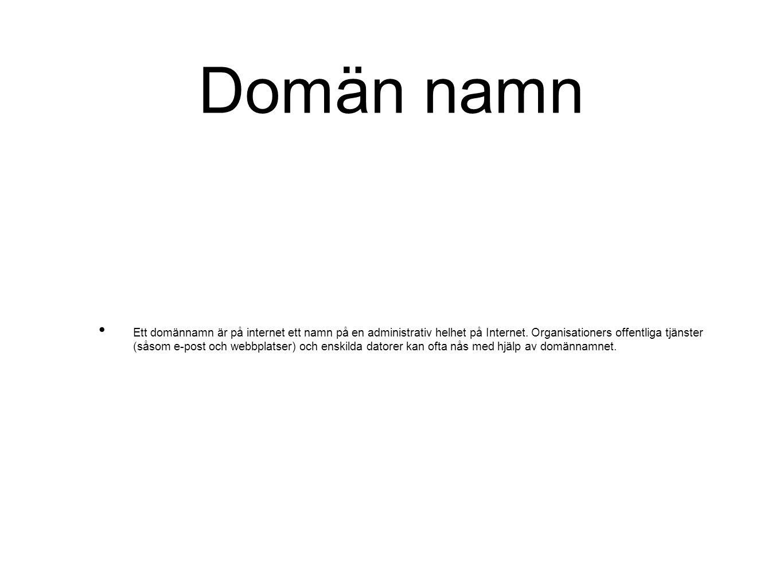 Domän namn Ett domännamn är på internet ett namn på en administrativ helhet på Internet. Organisationers offentliga tjänster (såsom e-post och webbpla