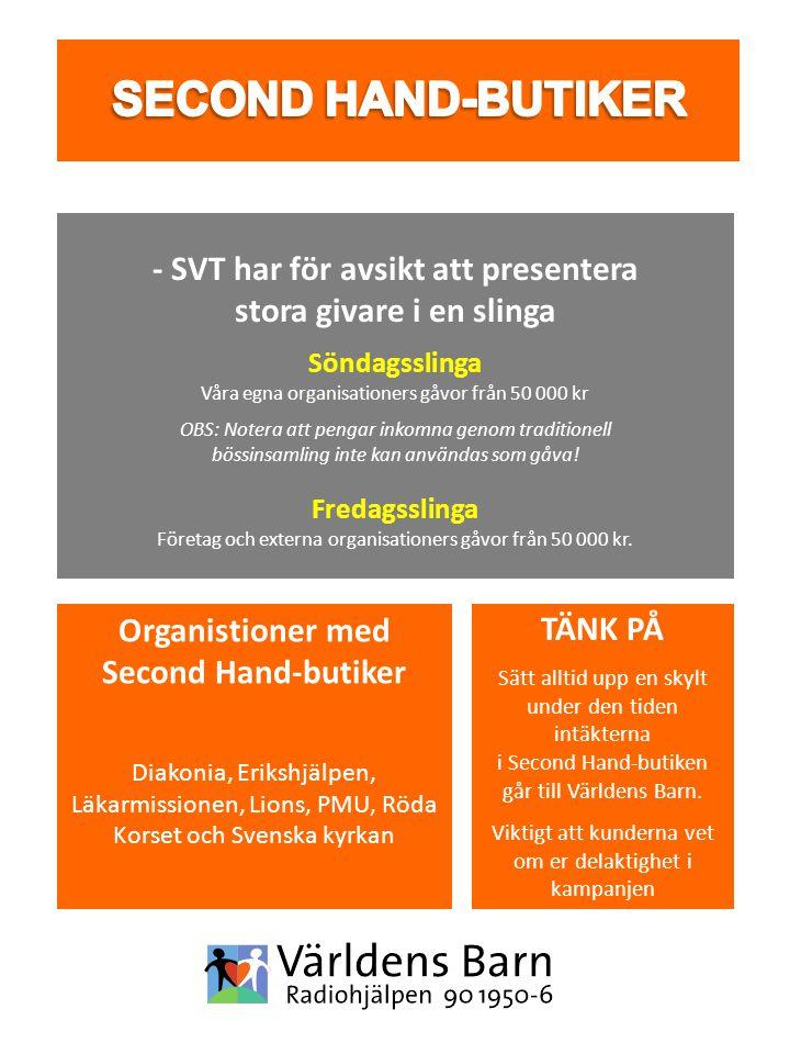 Organistioner med Second Hand-butiker Diakonia, Erikshjälpen, Läkarmissionen, Lions, PMU, Röda Korset och Svenska kyrkan - SVT har för avsikt att pres