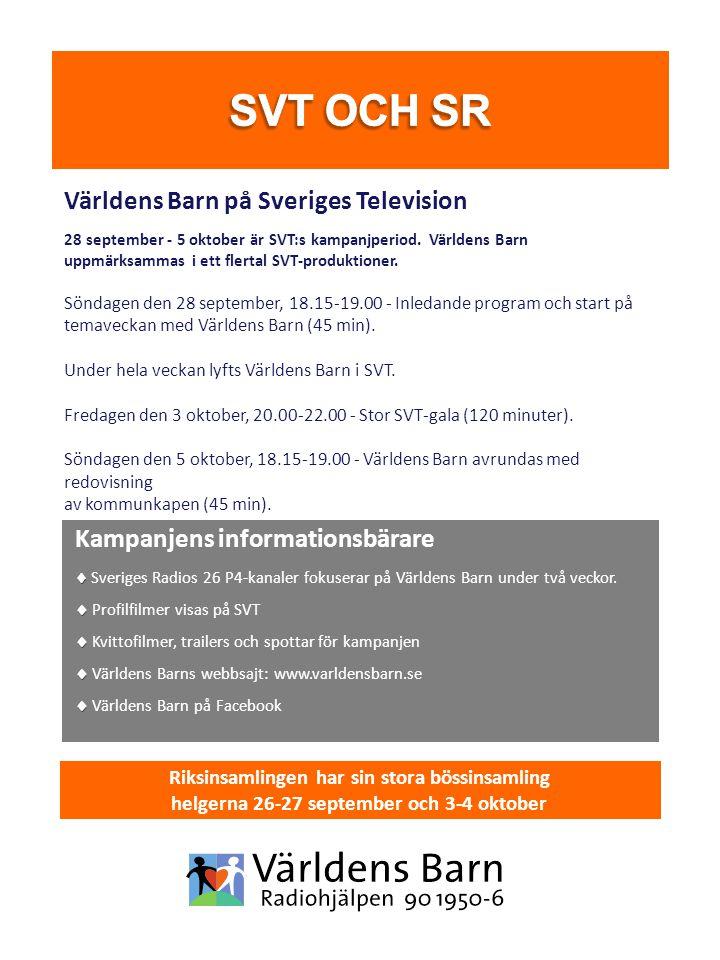 Världens Barn på Sveriges Television 28 september - 5 oktober är SVT:s kampanjperiod. Världens Barn uppmärksammas i ett flertal SVT-produktioner. Sönd