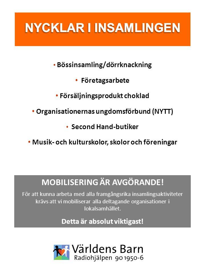 Bössinsamling/dörrknackning Företagsarbete Försäljningsprodukt choklad Organisationernas ungdomsförbund (NYTT) Second Hand-butiker Musik- och kultursk