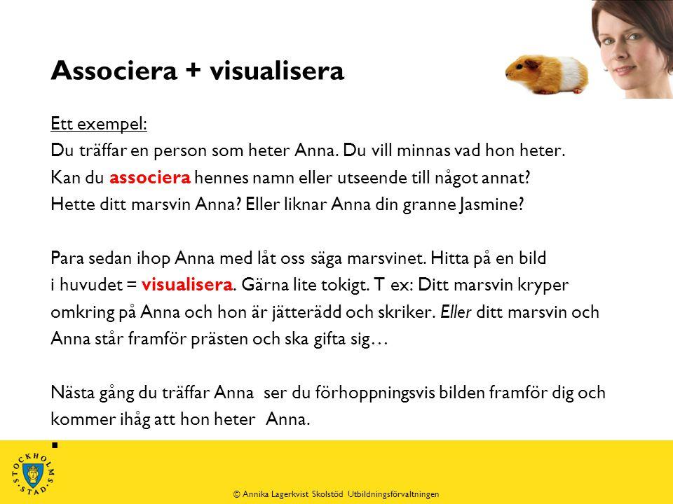 Associera + visualisera Ett exempel: Du träffar en person som heter Anna.