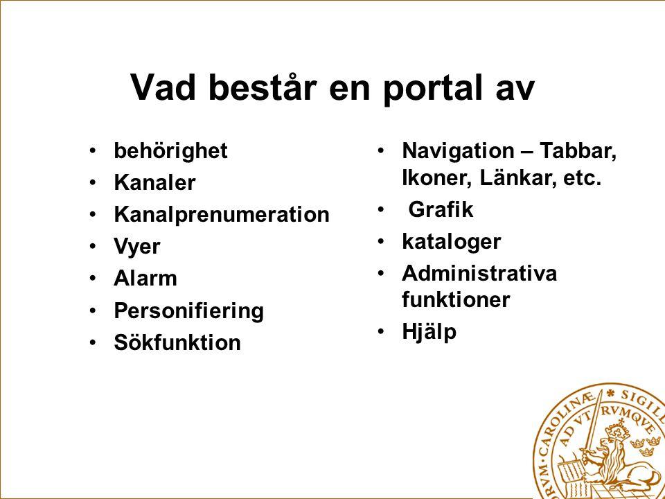 Vad består en portal av behörighet Kanaler Kanalprenumeration Vyer Alarm Personifiering Sökfunktion Navigation – Tabbar, Ikoner, Länkar, etc.