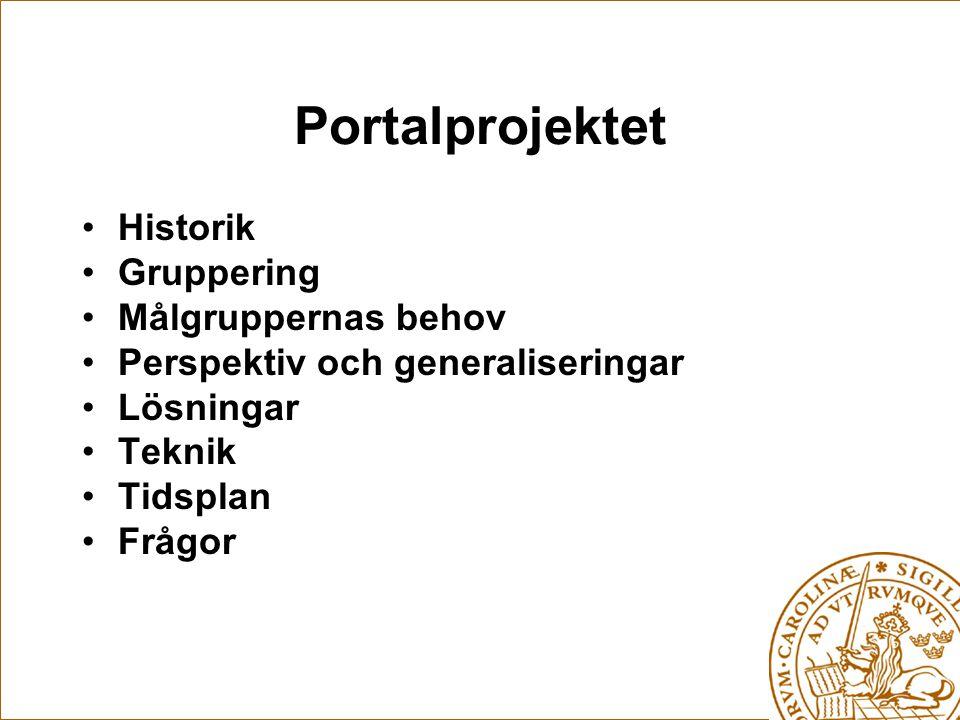 Portalprojektet Historik Gruppering Målgruppernas behov Perspektiv och generaliseringar Lösningar Teknik Tidsplan Frågor