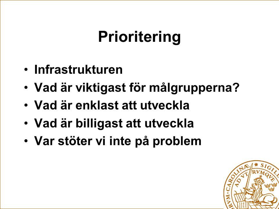 Prioritering Infrastrukturen Vad är viktigast för målgrupperna.