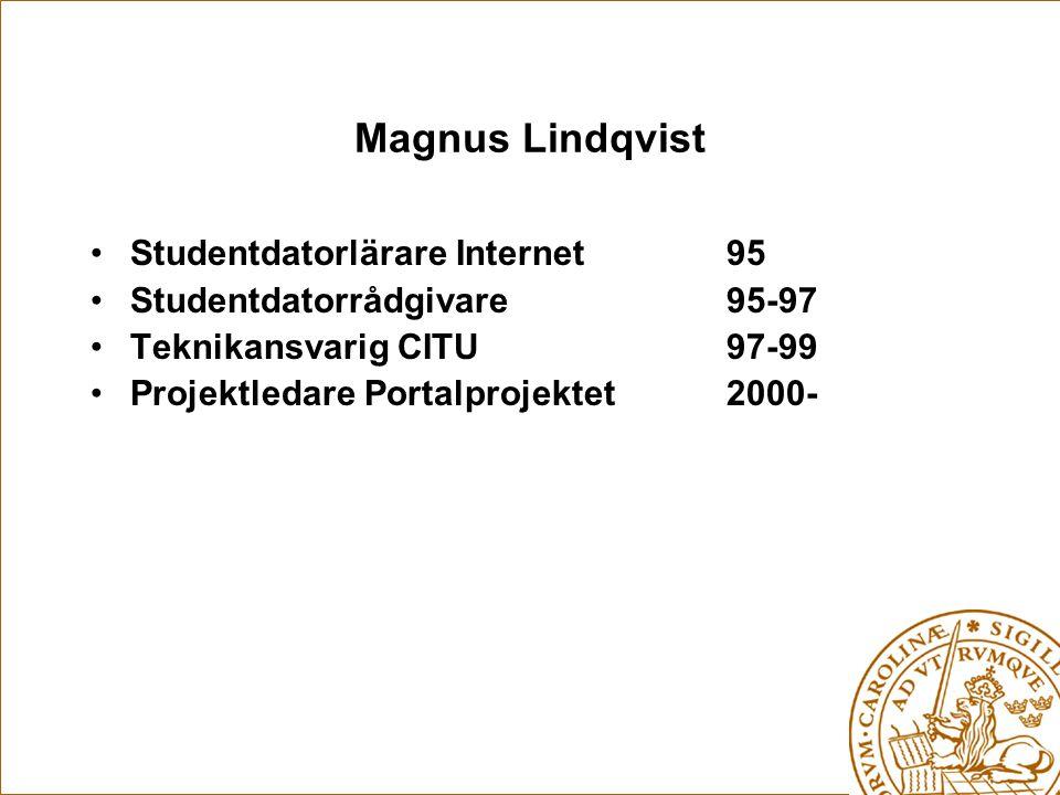 Magnus Lindqvist Studentdatorlärare Internet 95 Studentdatorrådgivare 95-97 Teknikansvarig CITU 97-99 Projektledare Portalprojektet 2000-