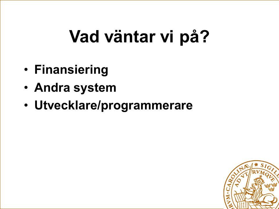 Vad väntar vi på Finansiering Andra system Utvecklare/programmerare