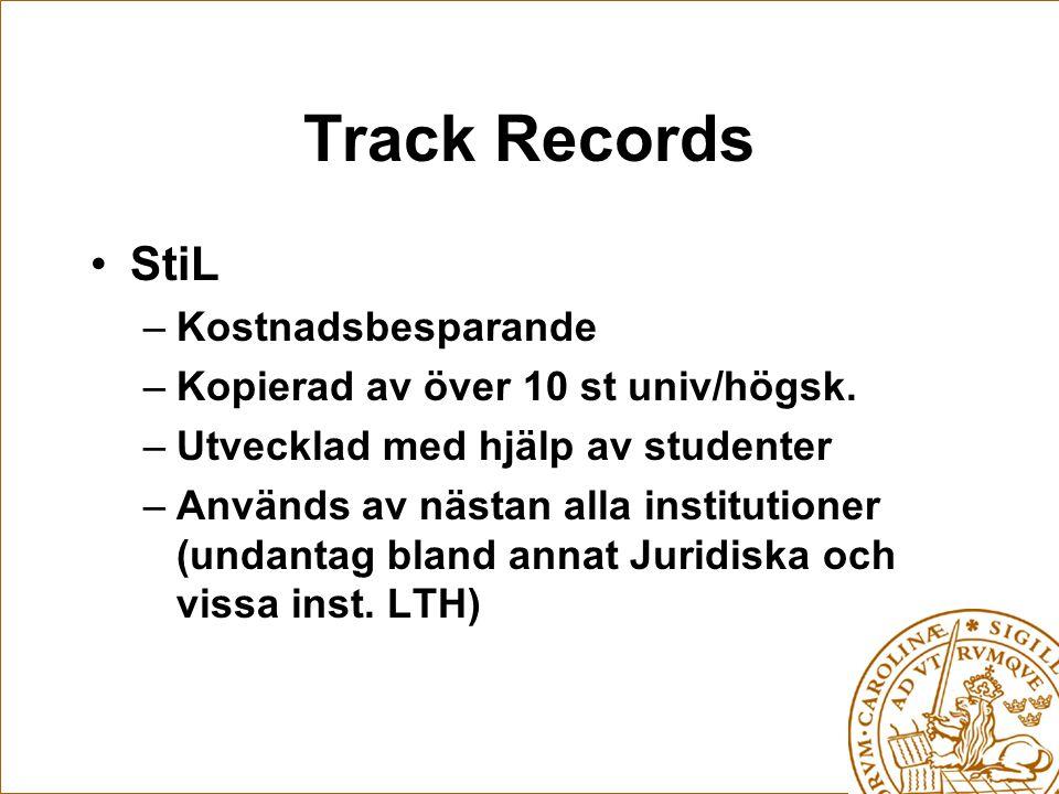 Track Records StiL –Kostnadsbesparande –Kopierad av över 10 st univ/högsk.