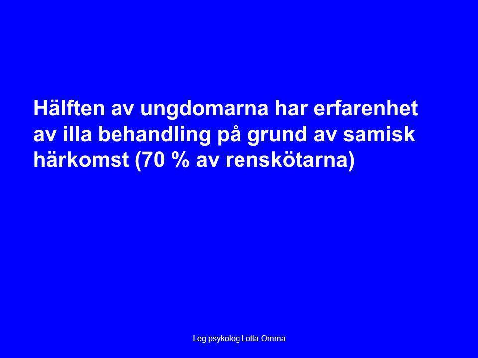 Leg psykolog Lotta Omma Hälften av ungdomarna har erfarenhet av illa behandling på grund av samisk härkomst (70 % av renskötarna)