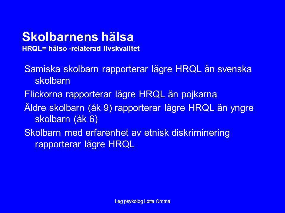 Leg psykolog Lotta Omma Skolbarnens hälsa HRQL= hälso -relaterad livskvalitet Samiska skolbarn rapporterar lägre HRQL än svenska skolbarn Flickorna rapporterar lägre HRQL än pojkarna Äldre skolbarn (åk 9) rapporterar lägre HRQL än yngre skolbarn (åk 6) Skolbarn med erfarenhet av etnisk diskriminering rapporterar lägre HRQL