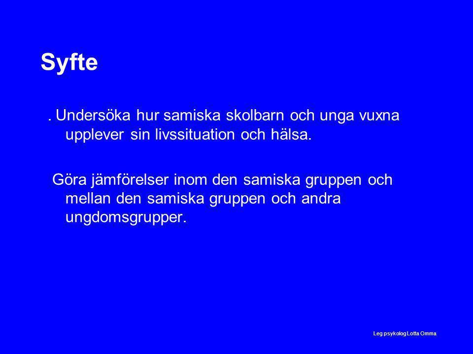 Leg psykolog Lotta Omma Syfte.