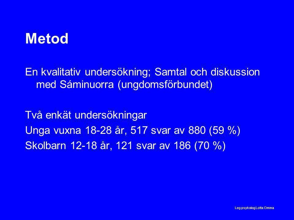 Leg psykolog Lotta Omma Metod En kvalitativ undersökning; Samtal och diskussion med Sáminuorra (ungdomsförbundet) Två enkät undersökningar Unga vuxna 18-28 år, 517 svar av 880 (59 %) Skolbarn 12-18 år, 121 svar av 186 (70 %)