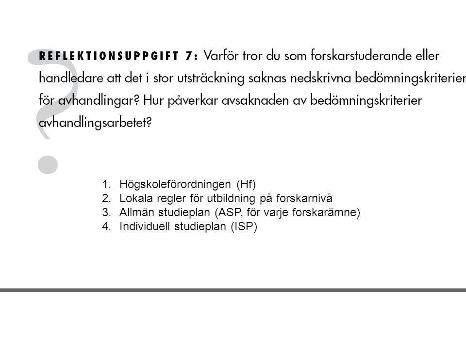 1.Högskoleförordningen (Hf) 2.Lokala regler för utbildning på forskarnivå 3.Allmän studieplan (ASP, för varje forskarämne) 4.Individuell studieplan (ISP)