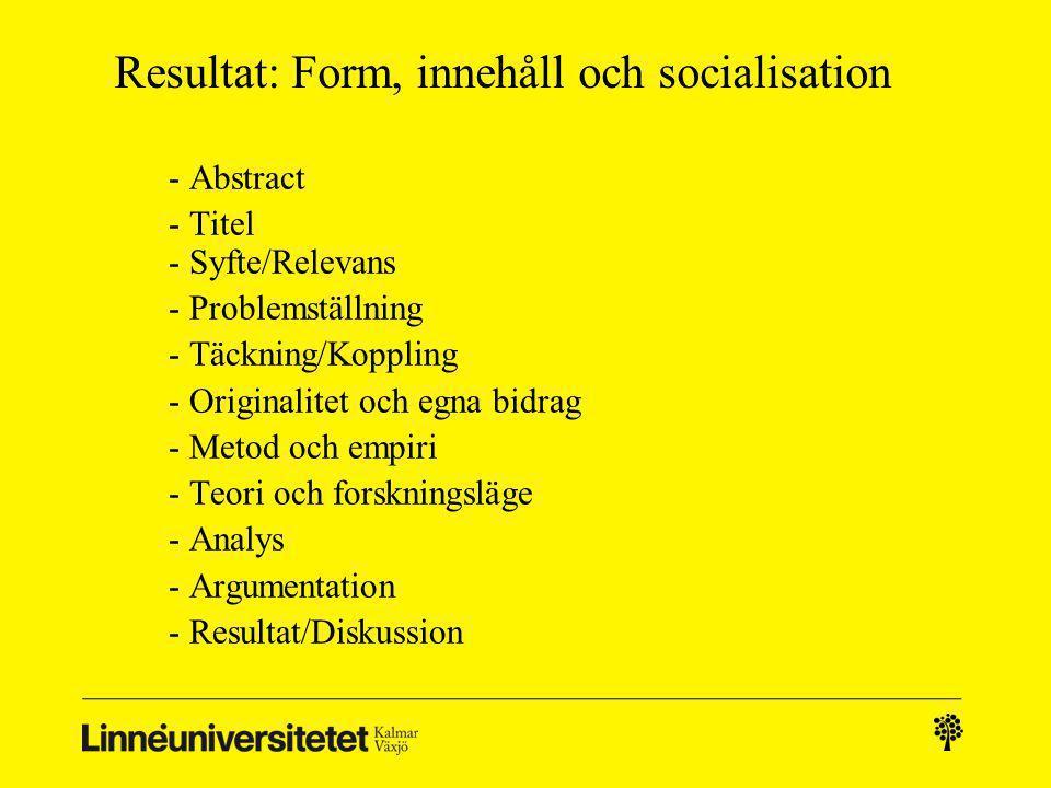 Resultat: Form, innehåll och socialisation - Abstract - Titel - Syfte/Relevans - Problemställning - Täckning/Koppling - Originalitet och egna bidrag -