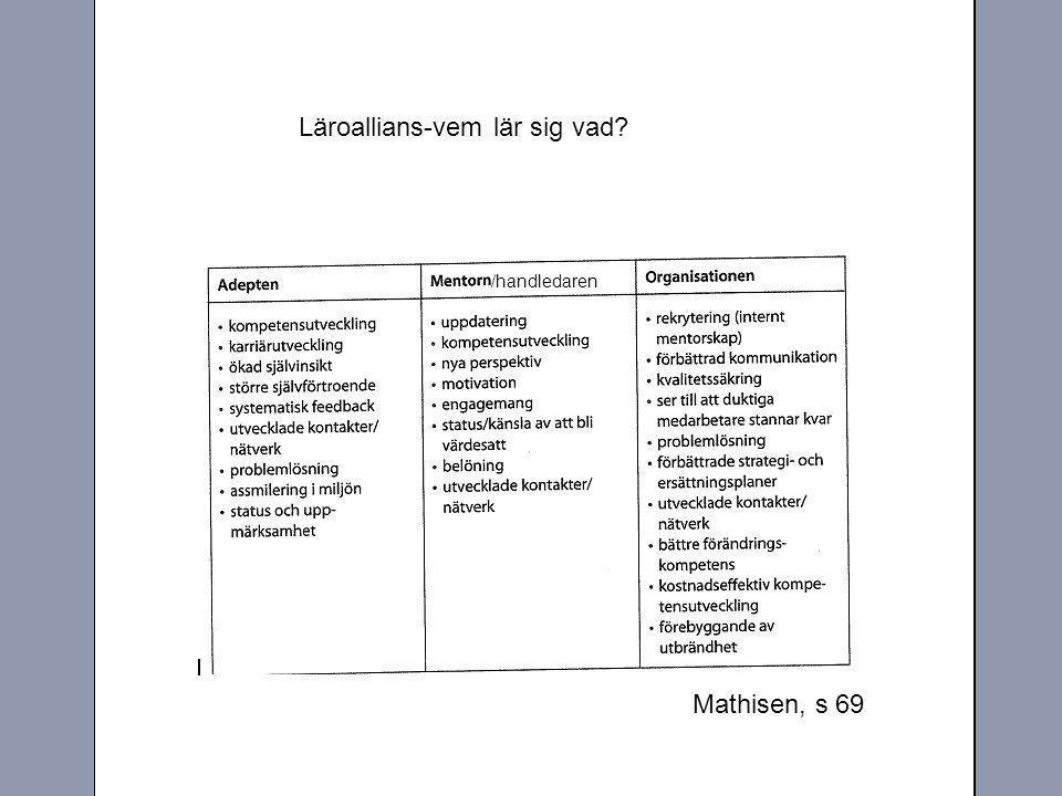 Mathisen, s 69 /handledaren Läroallians-vem lär sig vad?