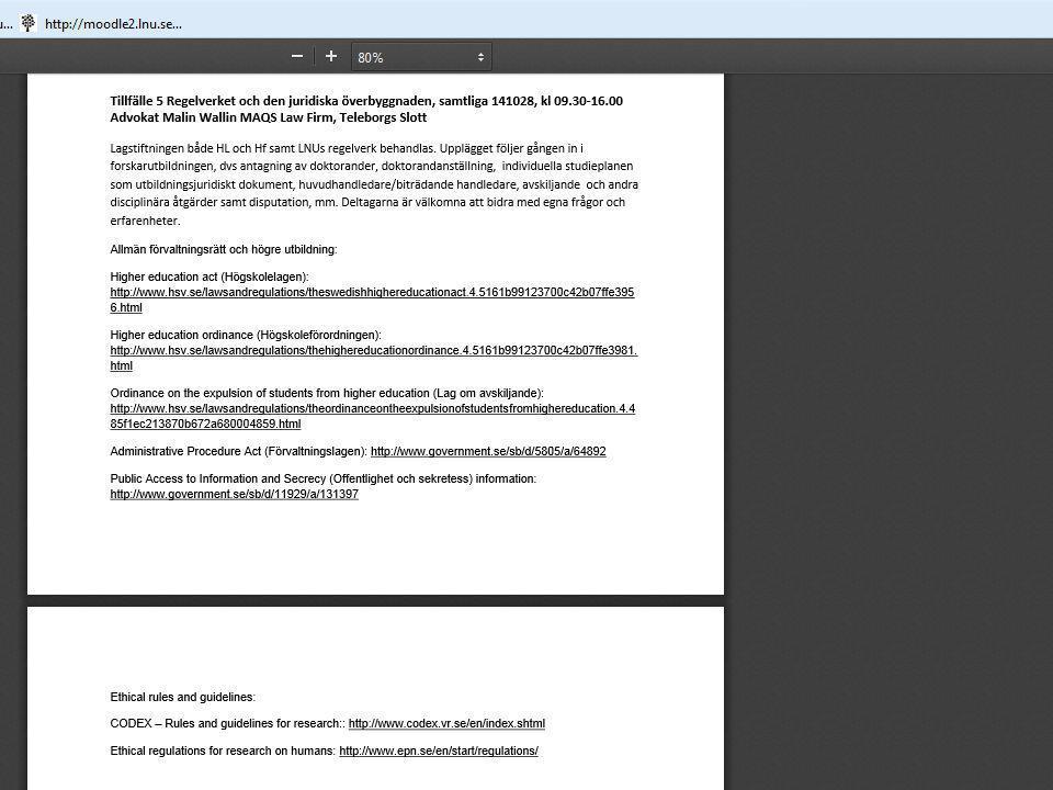 Datainsamling 1.Internet- och litteratursökningar 2.Enkäter till studierektorer, 24 stycken 3.Enkäter till forskarstuderande (14 svar av 48) och handledare (15 svar av 48).