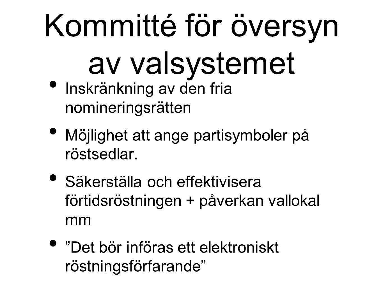 Kommitté för översyn av valsystemet Inskränkning av den fria nomineringsrätten Möjlighet att ange partisymboler på röstsedlar. Säkerställa och effekti