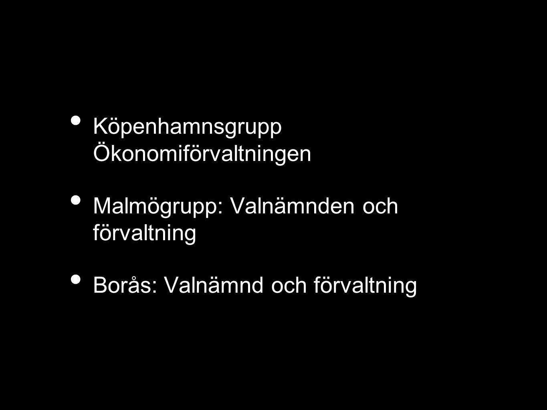 Köpenhamnsgrupp Ökonomiförvaltningen Malmögrupp: Valnämnden och förvaltning Borås: Valnämnd och förvaltning