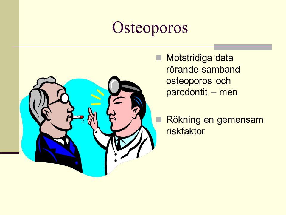Osteoporos Motstridiga data rörande samband osteoporos och parodontit – men Rökning en gemensam riskfaktor