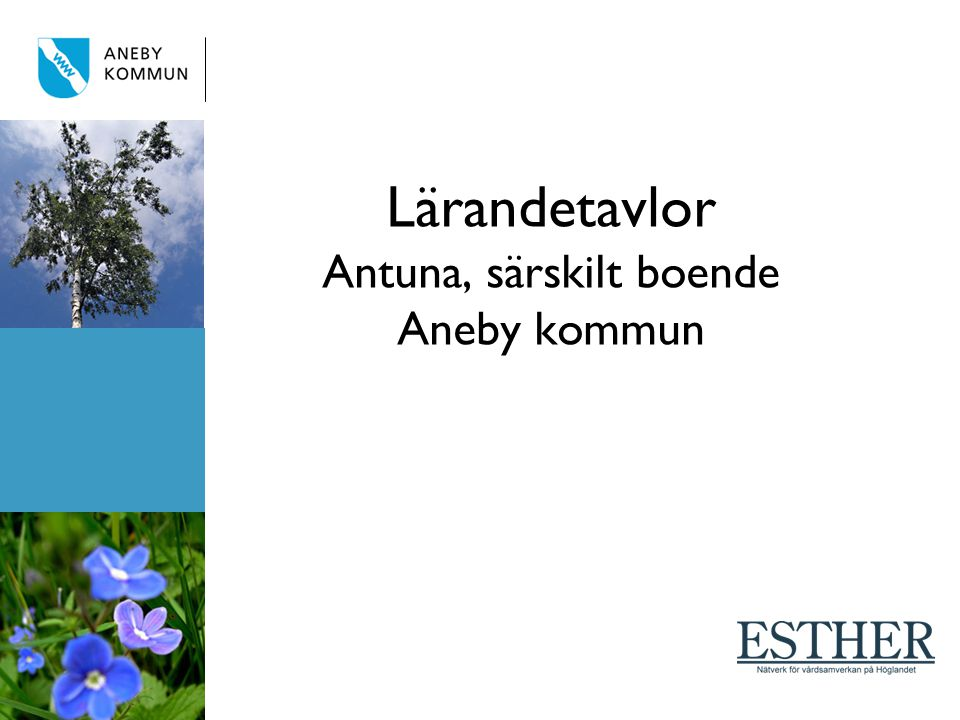 Lärandetavlor Antuna, särskilt boende Aneby kommun