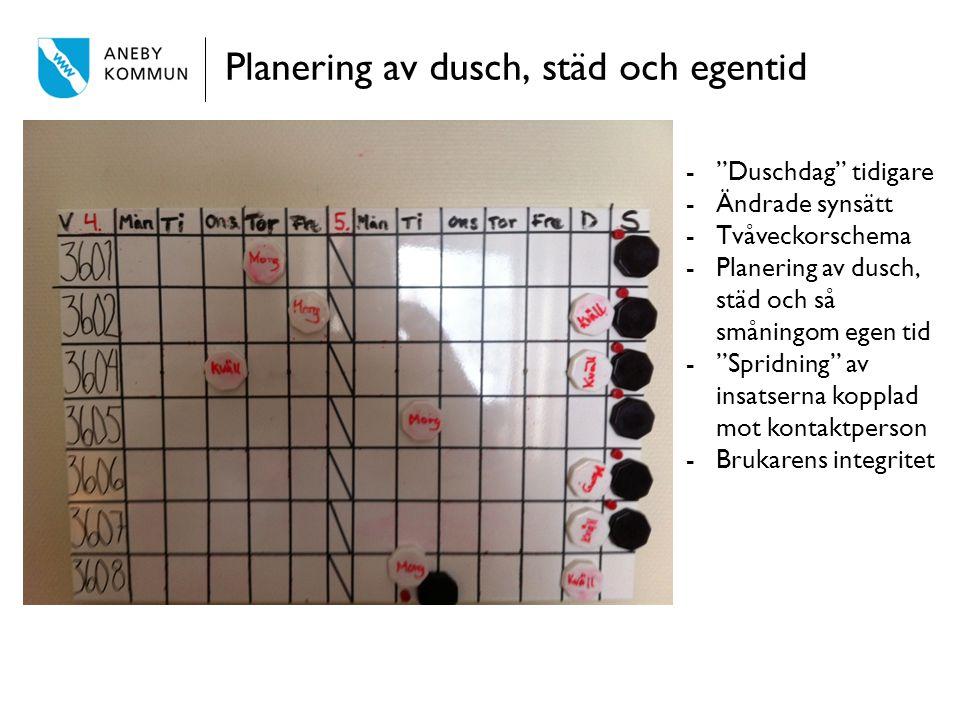 Planering av dusch, städ och egentid - Duschdag tidigare -Ändrade synsätt -Tvåveckorschema -Planering av dusch, städ och så småningom egen tid - Spridning av insatserna kopplad mot kontaktperson -Brukarens integritet