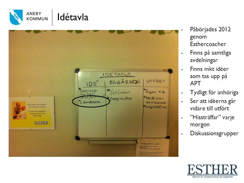 Idétavla -Påbörjades 2012 genom Esthercoacher -Finns på samtliga avdelningar -Finns mkt idéer som tas upp på APT -Tydligt för anhöriga -Ser att idéern