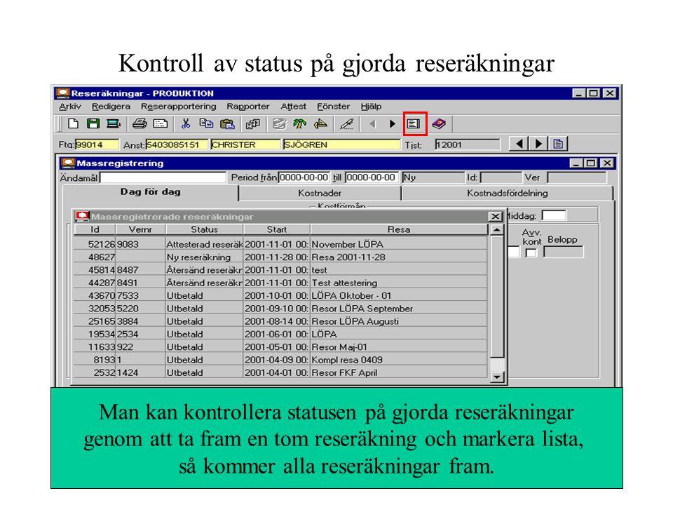 Chefen markerar godkända reseräkningar och klickar på attestera, bekräftar, anger password och trycker Enter Ange password