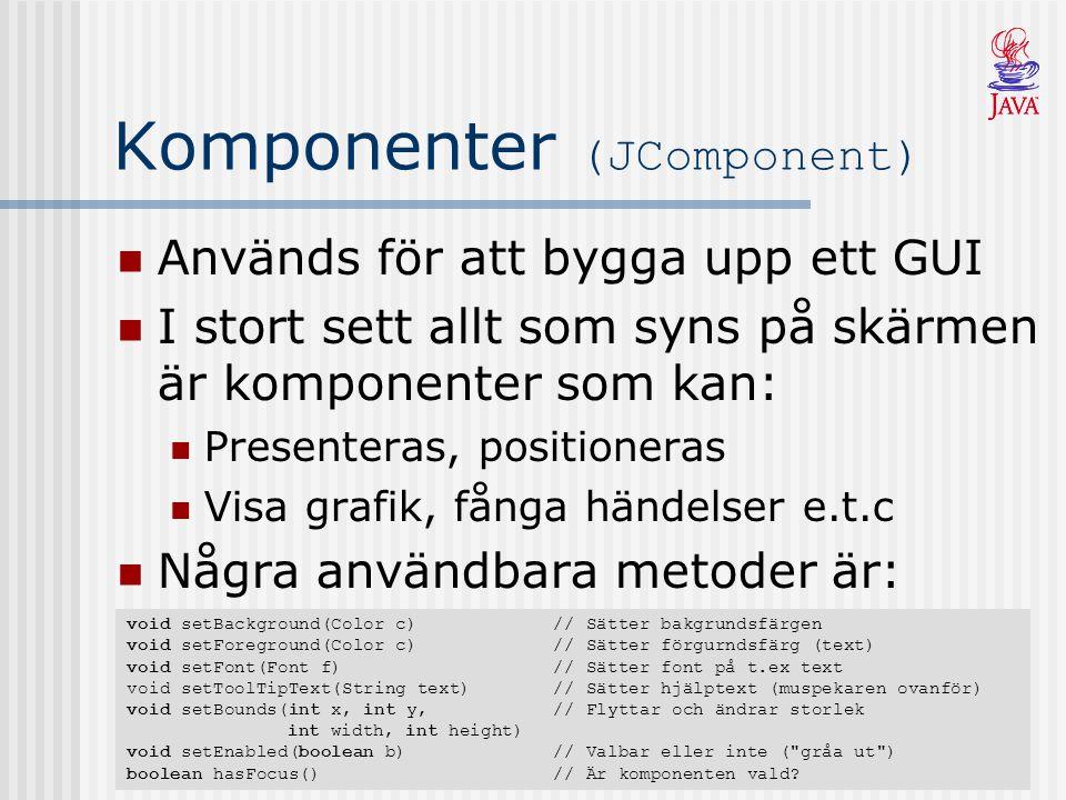 Komponenter (JComponent) Används för att bygga upp ett GUI I stort sett allt som syns på skärmen är komponenter som kan: Presenteras, positioneras Visa grafik, fånga händelser e.t.c Några användbara metoder är: void setBackground(Color c)// Sätter bakgrundsfärgen void setForeground(Color c)// Sätter förgurndsfärg (text) void setFont(Font f)// Sätter font på t.ex text void setToolTipText(String text) // Sätter hjälptext (muspekaren ovanför) void setBounds(int x, int y,// Flyttar och ändrar storlek int width, int height) void setEnabled(boolean b) // Valbar eller inte ( gråa ut ) boolean hasFocus()// Är komponenten vald
