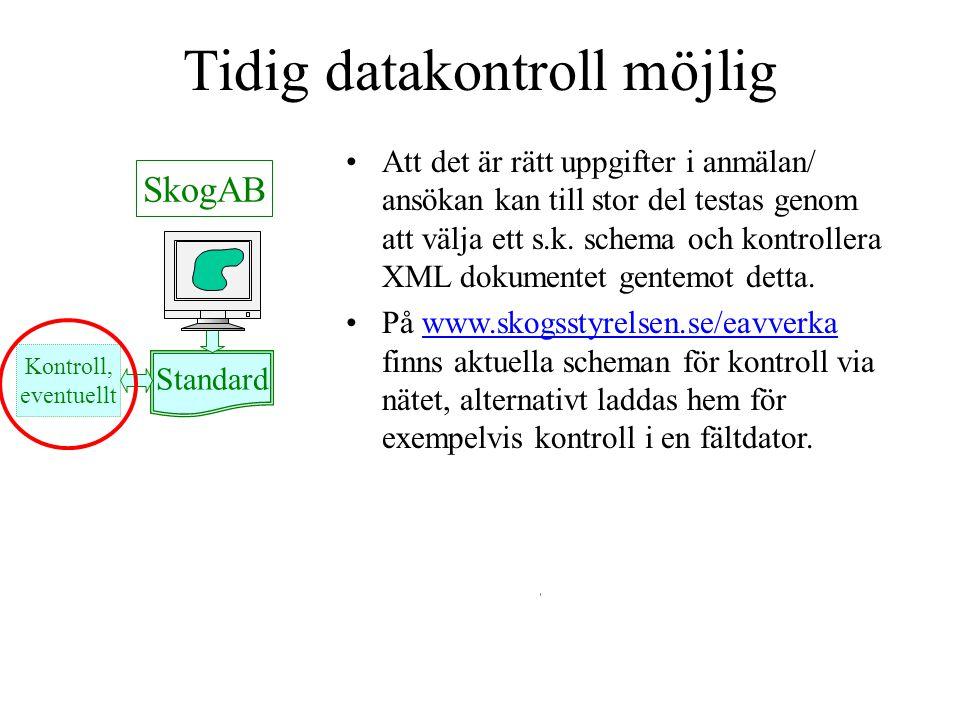 Mail till eavverka@skogsstyrelsen.se Standard Mail SkogAB Skogsstyrelsen Kontroll, eventuellt Standard Anmälan skickas som en bifogad XML-fil.