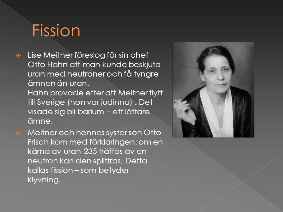  Lise Meitner föreslog för sin chef Otto Hahn att man kunde beskjuta uran med neutroner och få tyngre ämnen än uran. Hahn provade efter att Meitner f