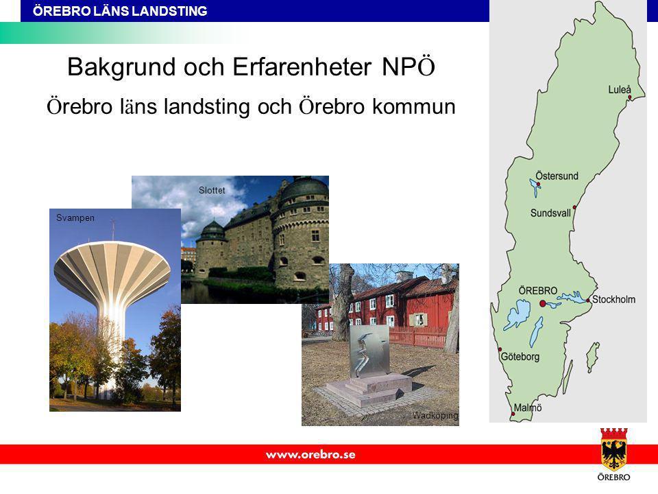 ÖREBRO LÄNS LANDSTING Bakgrund och Erfarenheter NP Ö Ö rebro l ä ns landsting och Ö rebro kommun Svampen Slottet Wadköping