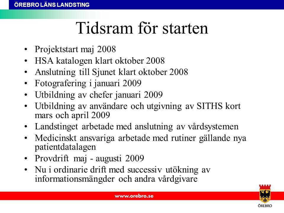 ÖREBRO LÄNS LANDSTING Tidsram för starten Projektstart maj 2008 HSA katalogen klart oktober 2008 Anslutning till Sjunet klart oktober 2008 Fotograferi