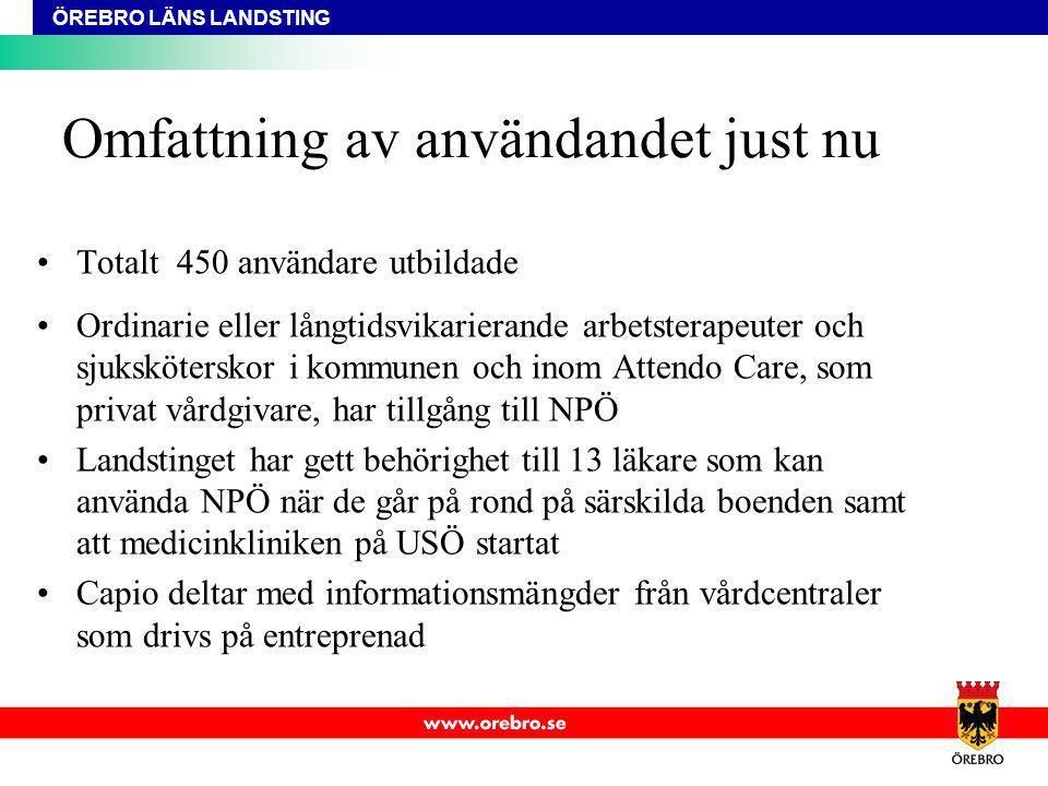 Totalt 450 användare utbildade Ordinarie eller långtidsvikarierande arbetsterapeuter och sjuksköterskor i kommunen och inom Attendo Care, som privat v