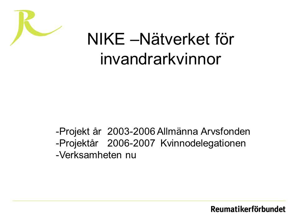 NIKE –Nätverket för invandrarkvinnor -Projekt år 2003-2006 Allmänna Arvsfonden -Projektår 2006-2007 Kvinnodelegationen -Verksamheten nu
