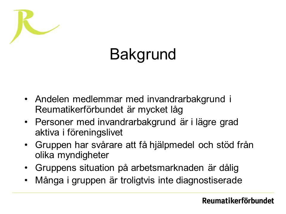 Idag Sju språkresurser på hemsidan Samarbete med invandrarorganisationer Nytt projekt Hälsa Välkommen Under sept-okt 2009 tjugofem nya medlemmar i månaden med icke svenskklinganden namn