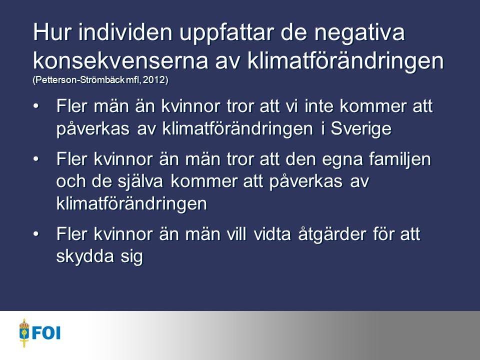 Hur individen uppfattar de negativa konsekvenserna av klimatförändringen (Petterson-Strömbäck mfl, 2012) Fler män än kvinnor tror att vi inte kommer att påverkas av klimatförändringen i Sverige Fler kvinnor än män tror att den egna familjen och de själva kommer att påverkas av klimatförändringen Fler kvinnor än män vill vidta åtgärder för att skydda sig Fler män än kvinnor tror att vi inte kommer att påverkas av klimatförändringen i Sverige Fler kvinnor än män tror att den egna familjen och de själva kommer att påverkas av klimatförändringen Fler kvinnor än män vill vidta åtgärder för att skydda sig