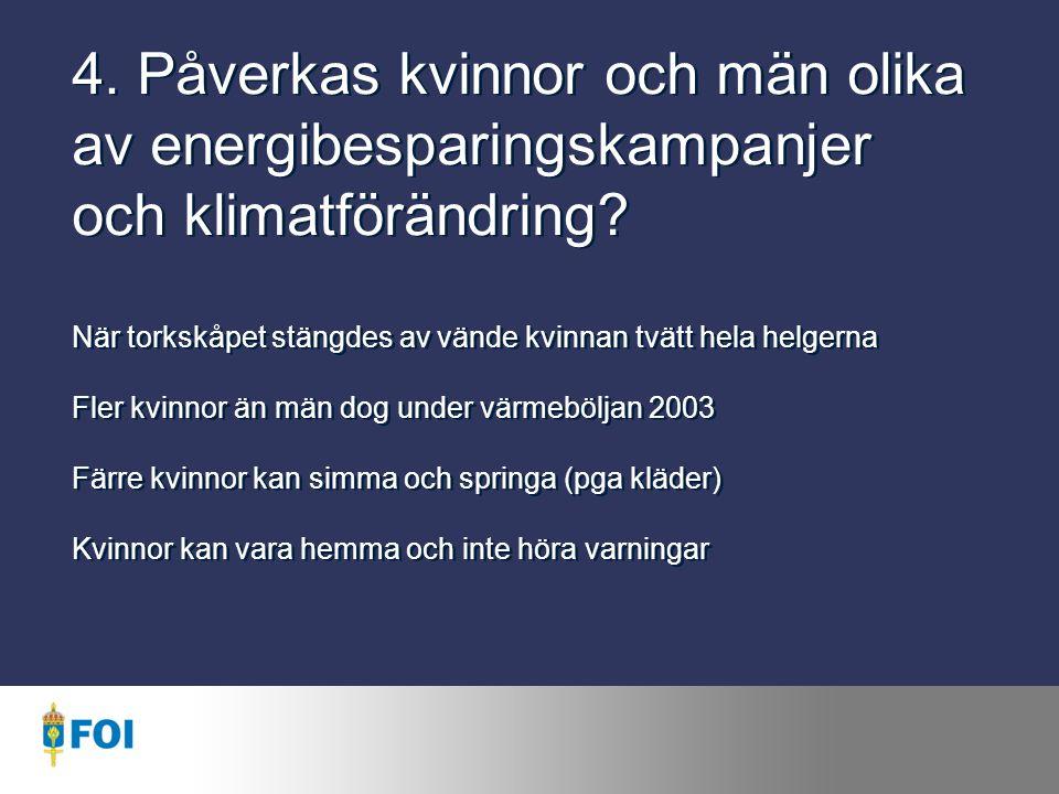 4.Påverkas kvinnor och män olika av energibesparingskampanjer och klimatförändring.