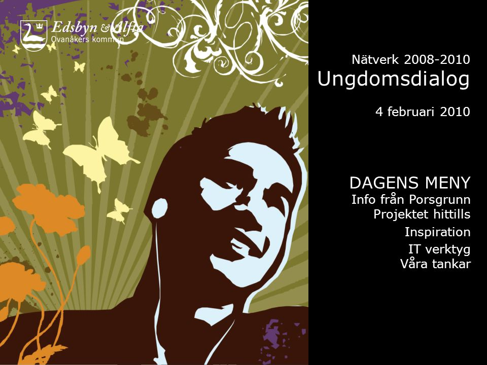 Nätverk 2008-2010 Ungdomsdialog 4 februari 2010 DAGENS MENY Info från Porsgrunn Projektet hittills Inspiration IT verktyg Våra tankar