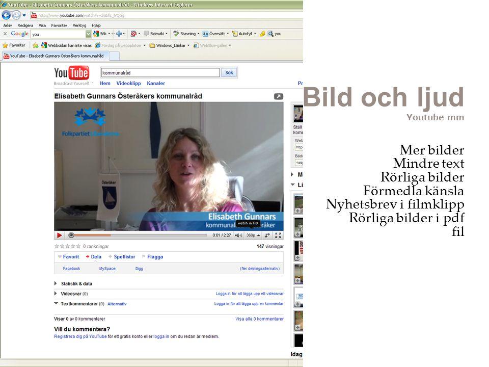 Bild och ljud Youtube mm Mer bilder Mindre text Rörliga bilder Förmedla känsla Nyhetsbrev i filmklipp Rörliga bilder i pdf fil