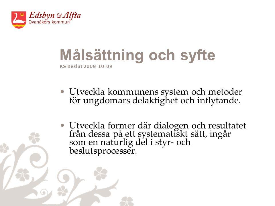 Målsättning och syfte KS Beslut 2008-10-09 Utveckla kommunens system och metoder för ungdomars delaktighet och inflytande.