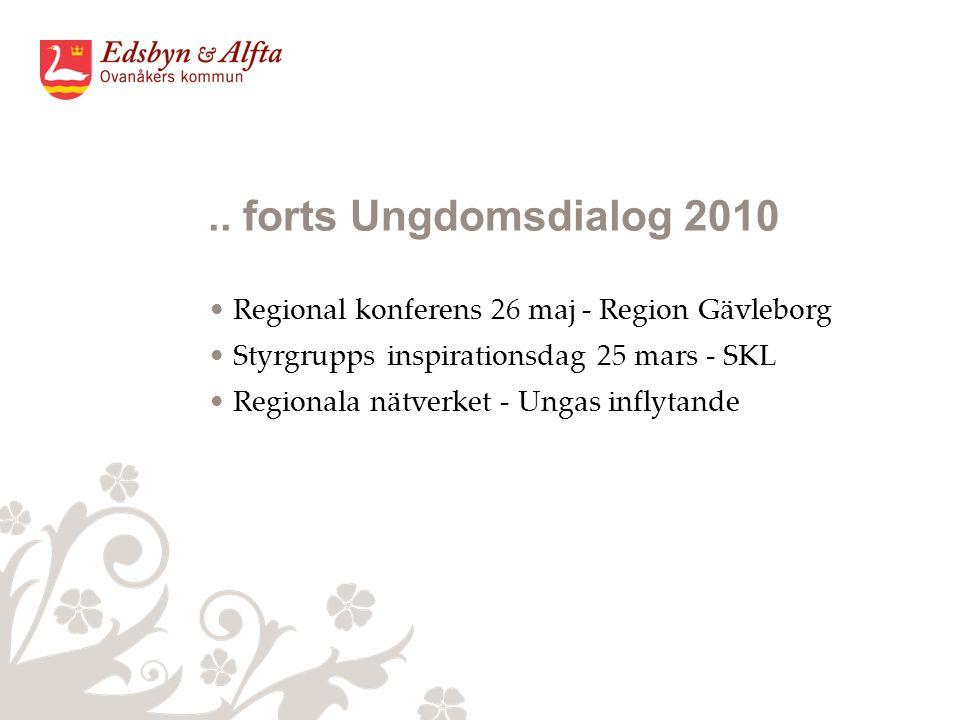 .. forts Ungdomsdialog 2010 Regional konferens 26 maj - Region Gävleborg Styrgrupps inspirationsdag 25 mars - SKL Regionala nätverket - Ungas inflytan