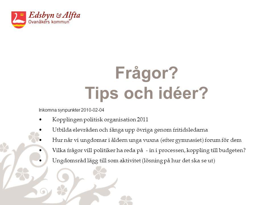 Frågor. Tips och idéer.