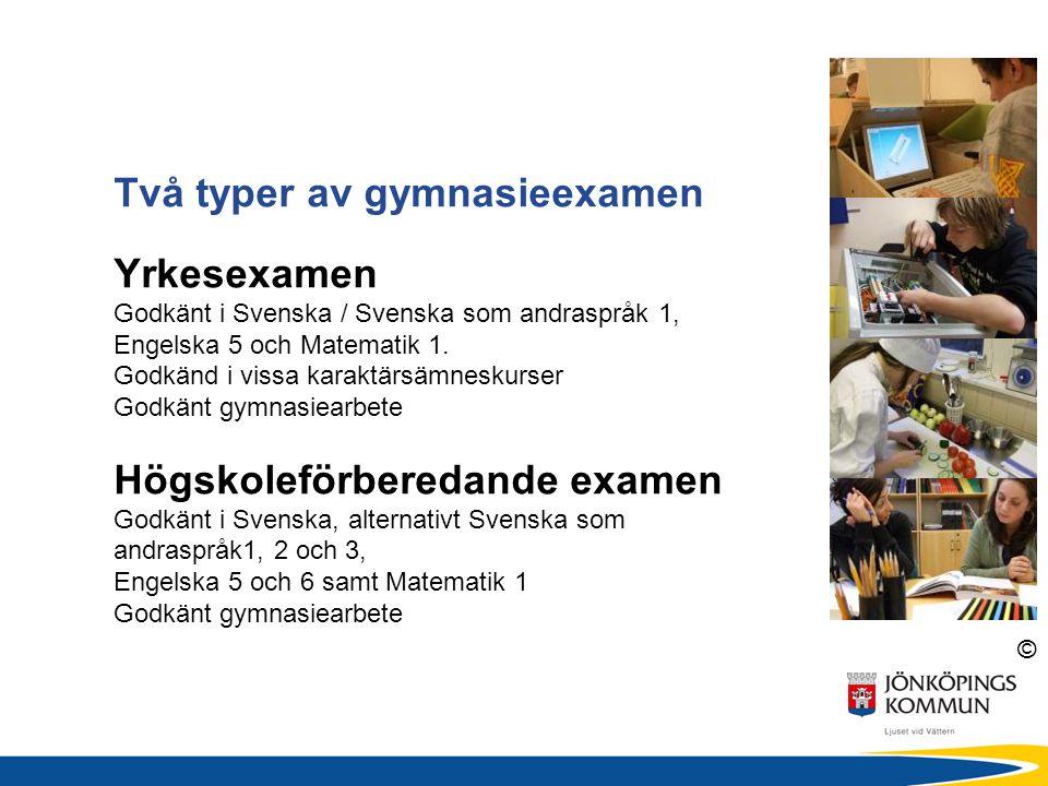© Två typer av gymnasieexamen Yrkesexamen Godkänt i Svenska / Svenska som andraspråk 1, Engelska 5 och Matematik 1. Godkänd i vissa karaktärsämneskurs