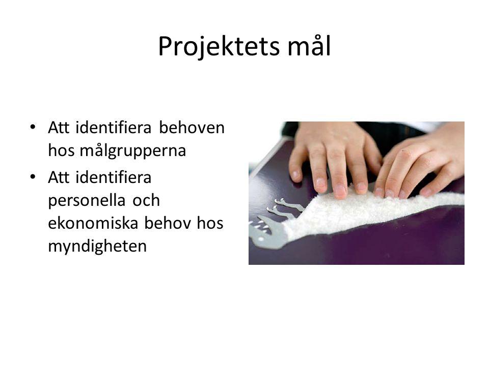 Projektets mål Att identifiera behoven hos målgrupperna Att identifiera personella och ekonomiska behov hos myndigheten