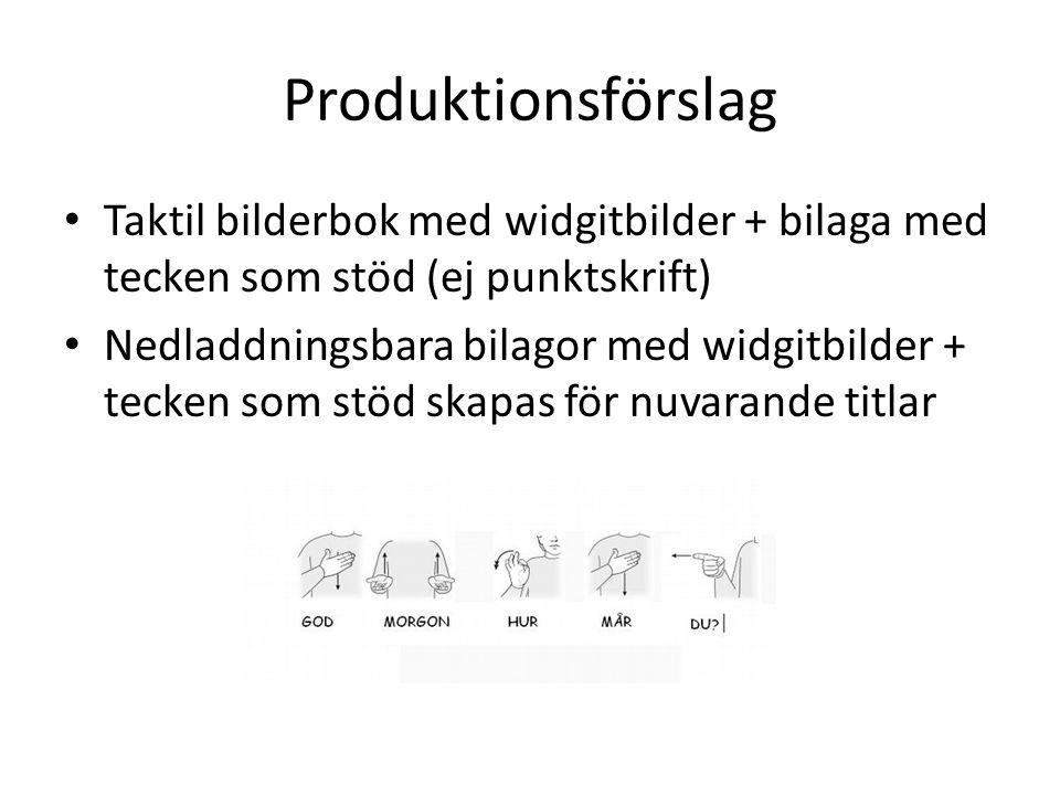 Produktionsförslag Taktil bilderbok med widgitbilder + bilaga med tecken som stöd (ej punktskrift) Nedladdningsbara bilagor med widgitbilder + tecken som stöd skapas för nuvarande titlar