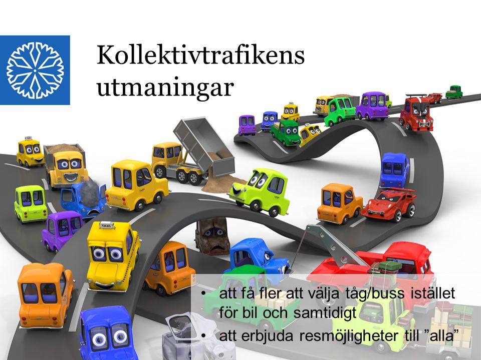 Landstinget i Östergötland Kollektivtrafikens utmaningar att få fler att välja tåg/buss istället för bil och samtidigt att erbjuda resmöjligheter till alla