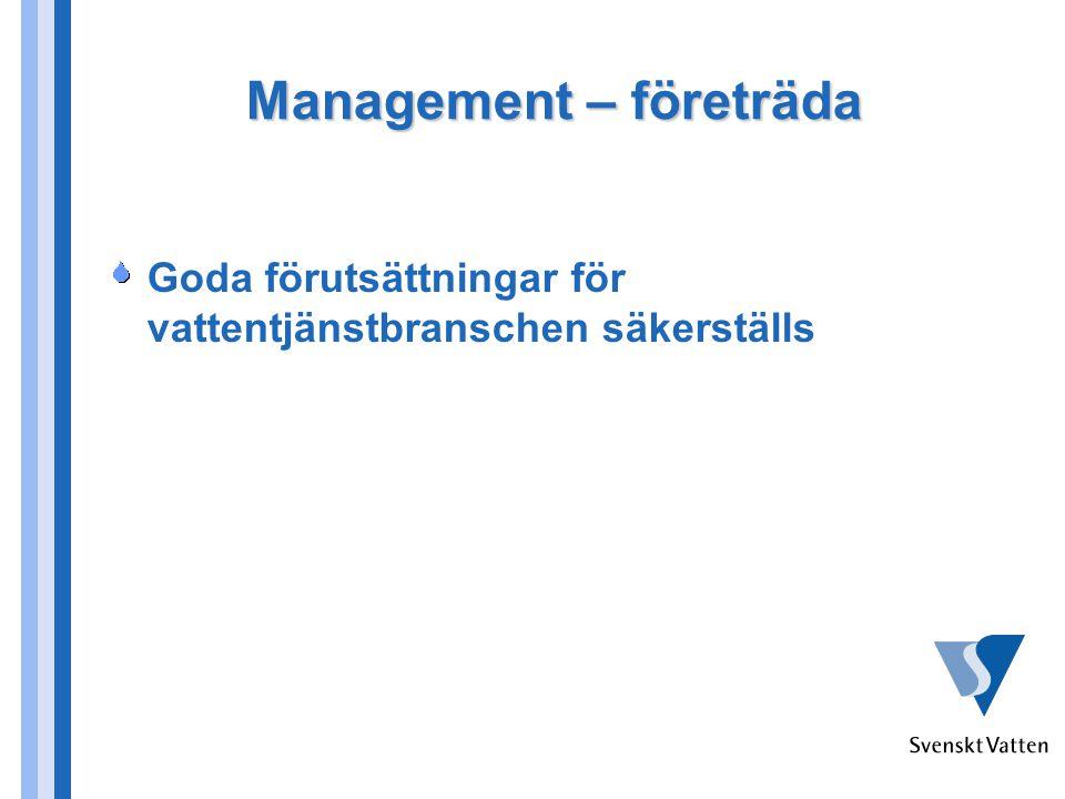 Management – utveckla Tillhandahålla övergripande benchmarking och säkerställa att systemet används för att leda och utveckla vattentjänsterna Medlemmarnas ledningar ska ha relevanta verktyg för att leda och utveckla verksamheterna
