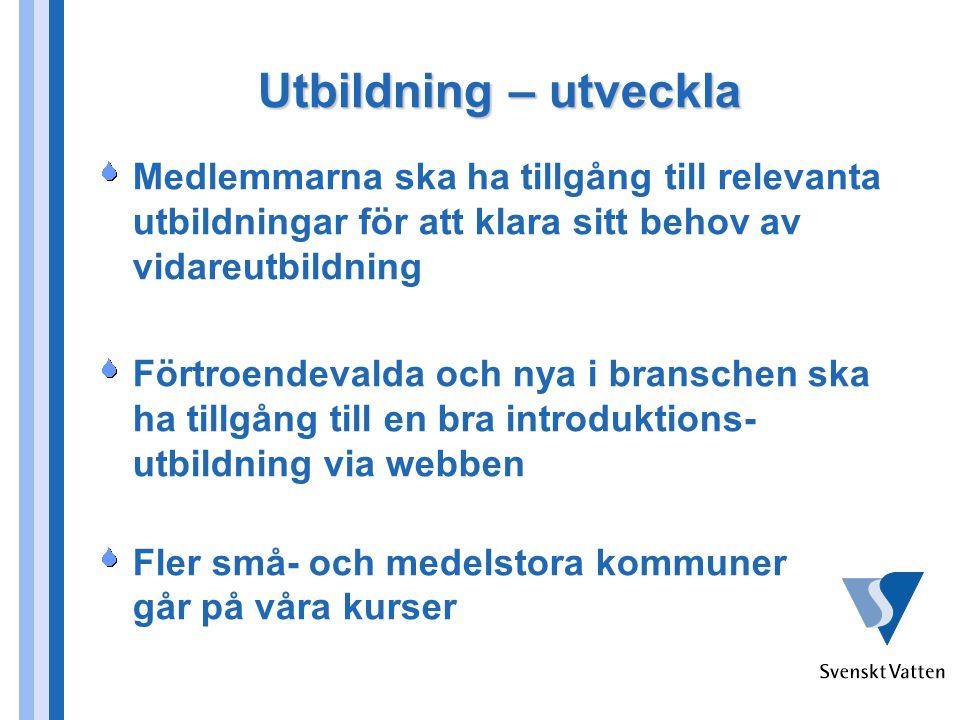Kommunikation Branschens attraktionskraft och allmänna status ökar Medvetenheten om vikten av att värna vattnets kretslopp i Sverige ökar