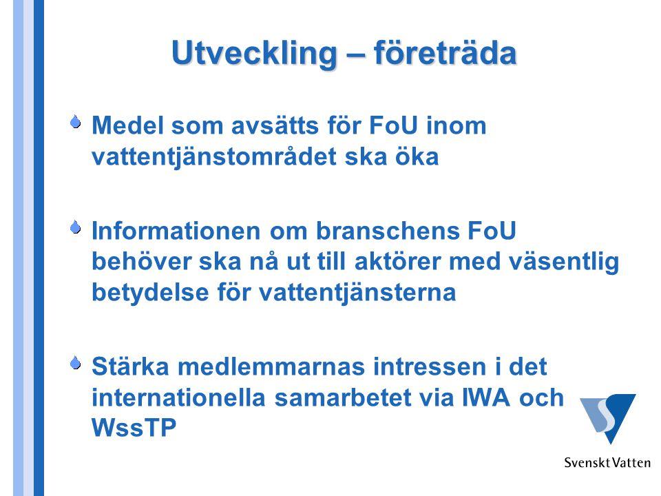 Utveckling – företräda Medel som avsätts för FoU inom vattentjänstområdet ska öka Informationen om branschens FoU behöver ska nå ut till aktörer med väsentlig betydelse för vattentjänsterna Stärka medlemmarnas intressen i det internationella samarbetet via IWA och WssTP